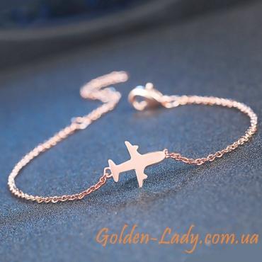 Браслет с самолетом золото