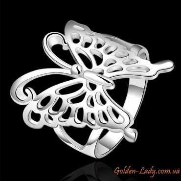 """Кольцо """"Бабочка"""", белое золото"""