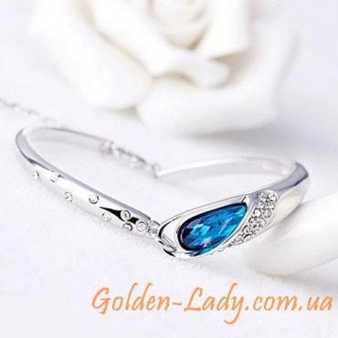 браслет из двух частей с голубым камнем