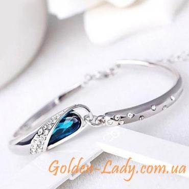 вечерний браслет с голубым камнем Лагуна