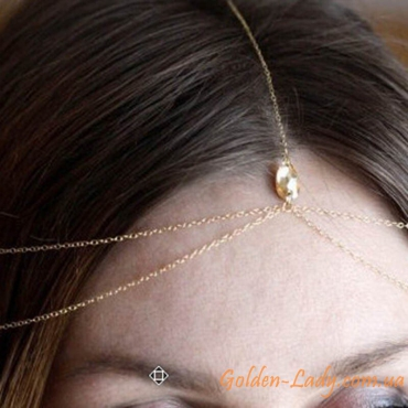 Цепочка для волос золотистая Клара