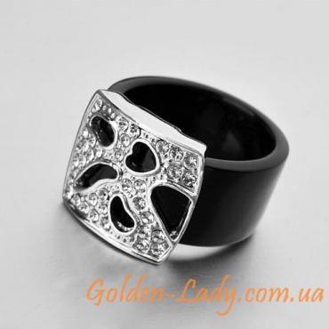 кольцо чёрное с фианитами