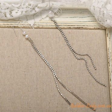 """Длинные сережки 20 см с камнями """"Джина"""""""