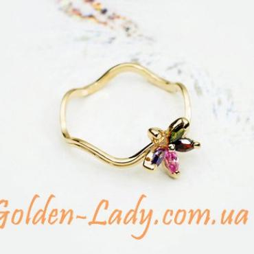 кольцо с разноцветным цветком из камней