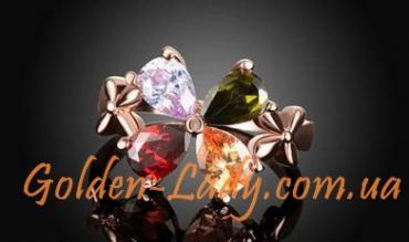кольцо с разноцветными лепестками