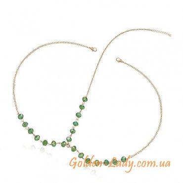 цепочка на голову с зелеными камнями