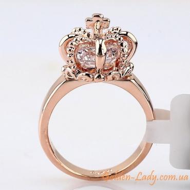 Кольцо корона позолоченная