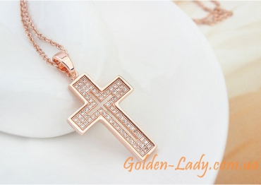 крестик на шею, розовое золото