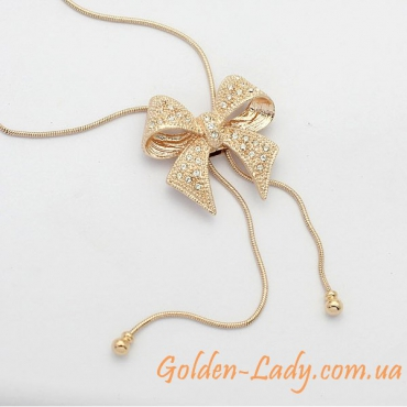"Кулон на длинной цепочке ""Butterfly Gold"""