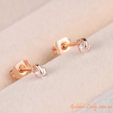 маленькие сережки с камнем