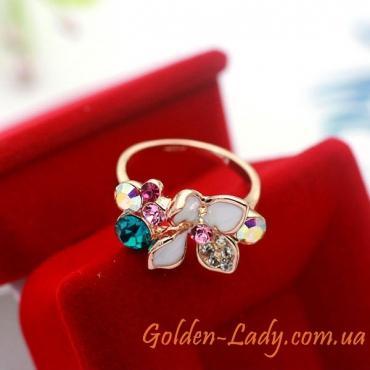 Кольцо с цветком из камней