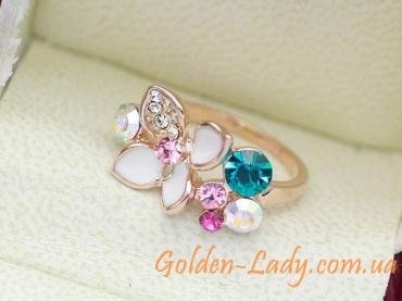 кольцо с камнями Сваровски в виде цветка
