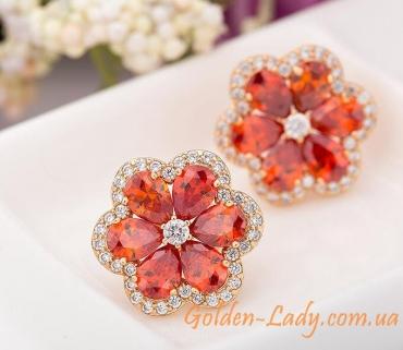сережки с красными цветками