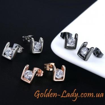 Сережки в белом золоте с фианитом