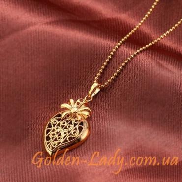 Позолоченный кулон в форме сердца (без цепи)