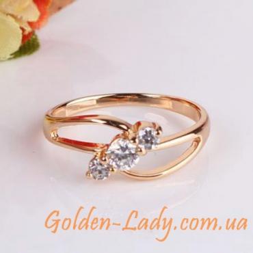 Золотое кольцо с кристаллами Swarovski