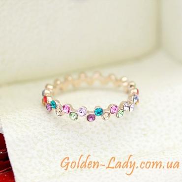Тонкое кольцо с кристаллами Swarovski