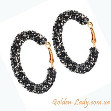 Сережки кольца с яркими чёрными камнями