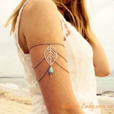 """Серебристый браслет на плечо """"Leaf"""""""