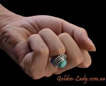 """Кольцо в виде цветка с бирюзой """"Бирюзовый Пион"""""""