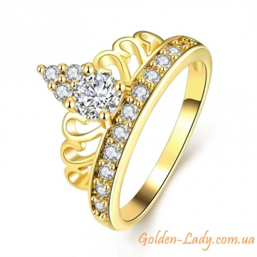 кольцо в виде короны желтое золото