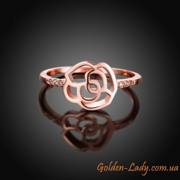 Красивое кольцо в форме розы