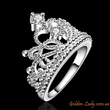серебристое кольцо корона