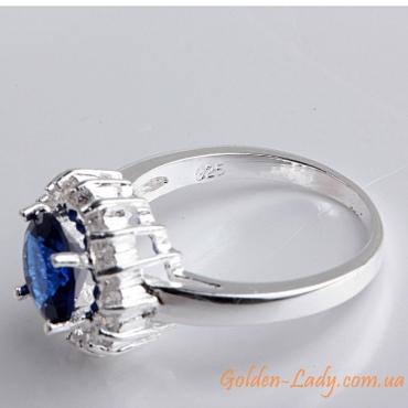 кольцо серебро 925 с голубым топазом