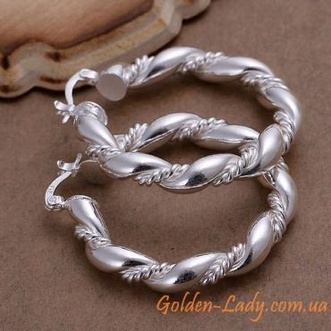 """Серьги кольца крученые серебристые """"Dragon"""""""