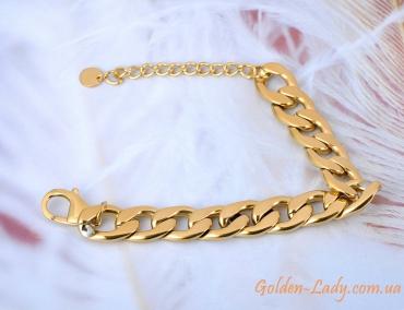 браслет большой широкий в золоте для девушки