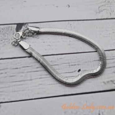 Плоский браслет на ногу Snake White