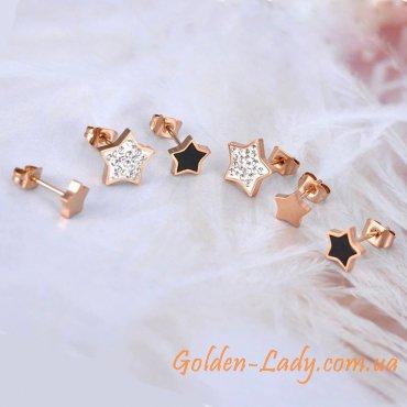 сережки в форме звезд