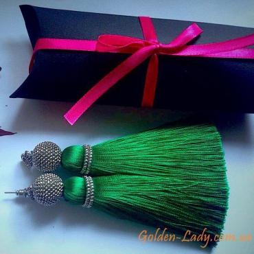 Зелёные сережки кисточки Golden Lady
