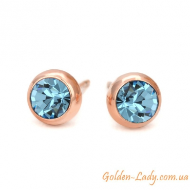 маленькие сережки с синими камнями