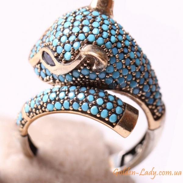 кольцо кошка серебро 925