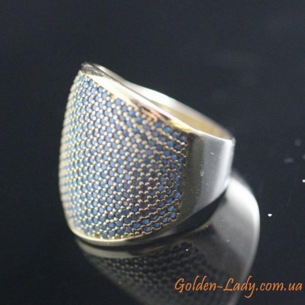 квадратное кольцо с камнем бирюза