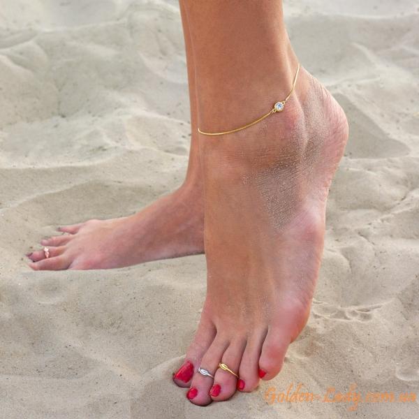 украшения на ноге: 2 кольца и цепочка