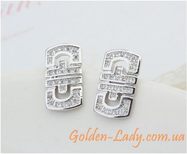 сережки в винтажном стиле белое золото