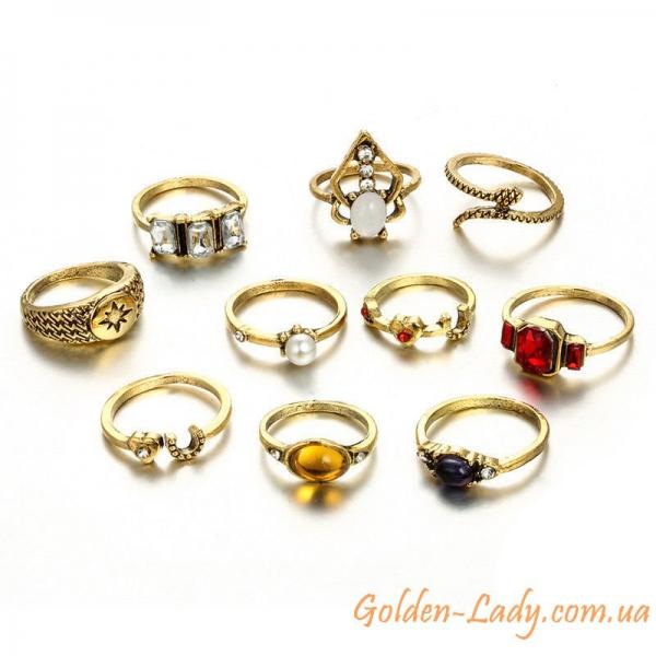 кольца на фаланги с разноцветными камнями