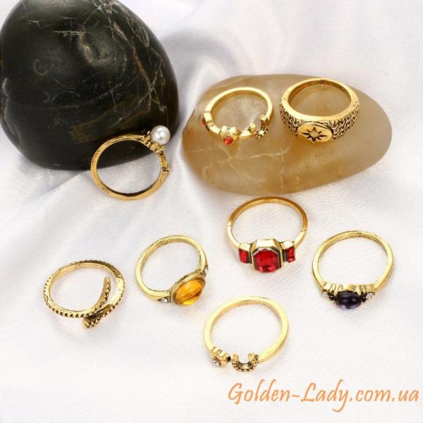 кольца миди с камнями