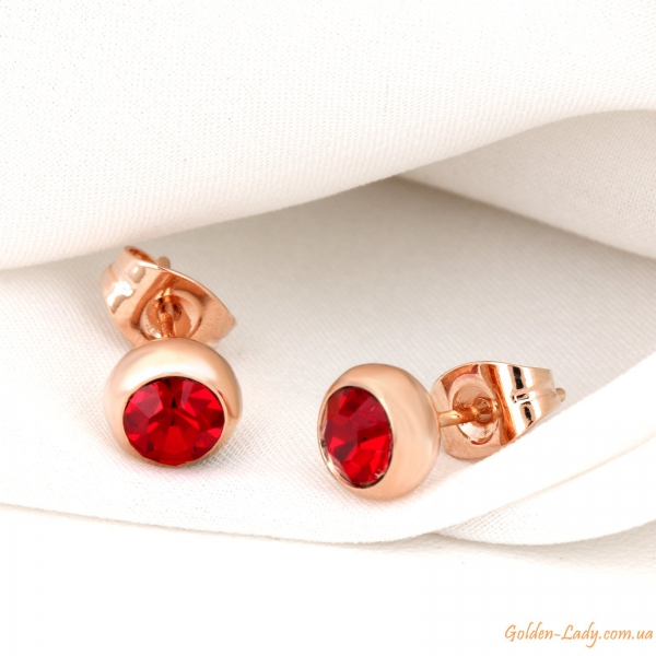 Серьги гвоздики с красными камнями